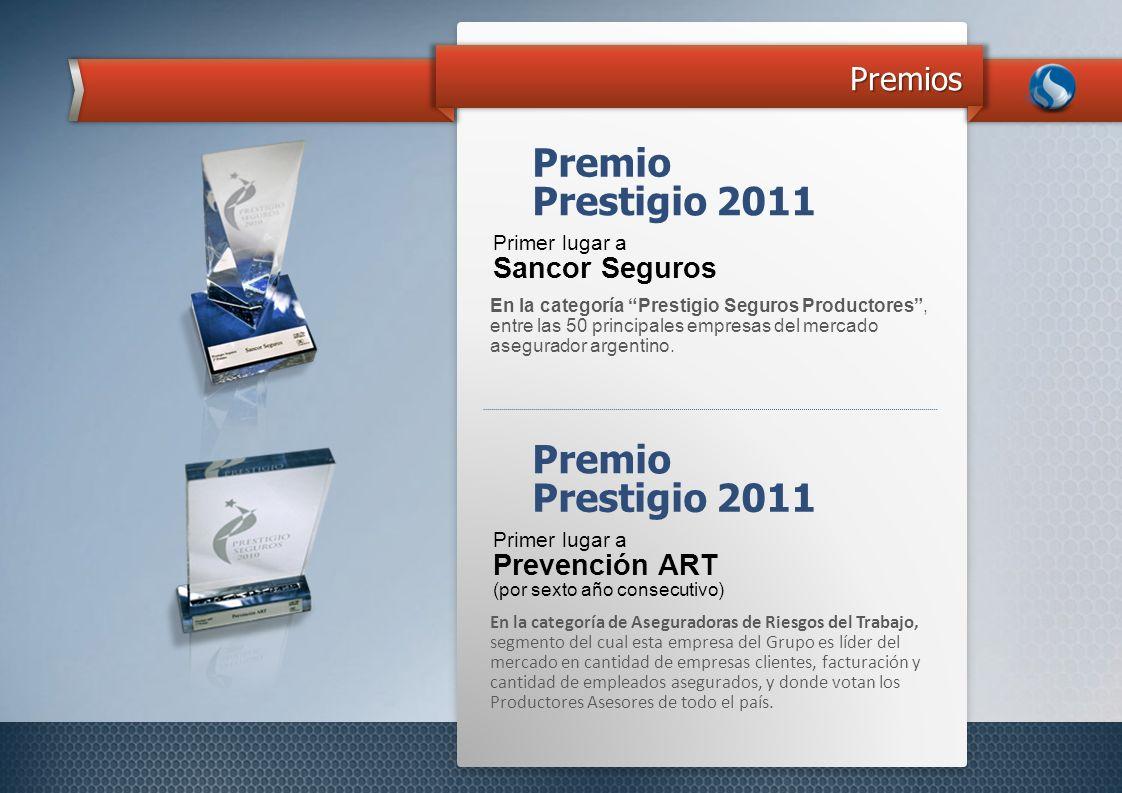 Premios En la categoría Prestigio Seguros Productores, entre las 50 principales empresas del mercado asegurador argentino. Premio Primer lugar a Sanco