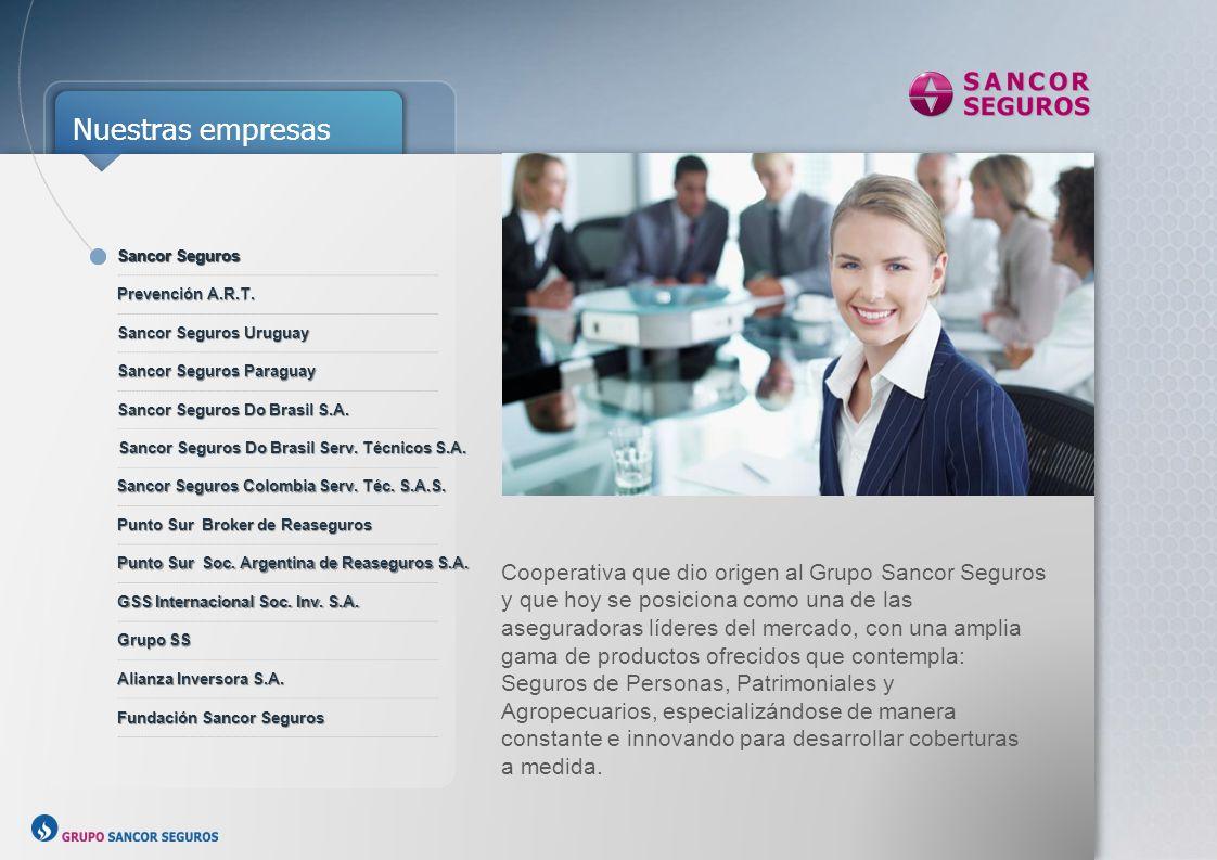 Nuestros Números ARGENTINA, URUGUAY, PARAGUAY, BRASIL ASEGURADOS 3.140.000 OFICINAS PROPIAS 50 OFICINAS IDENTIFICADAS 480 PRODUCTORES ASESORES 5.400 EMPLEADOS 1.732