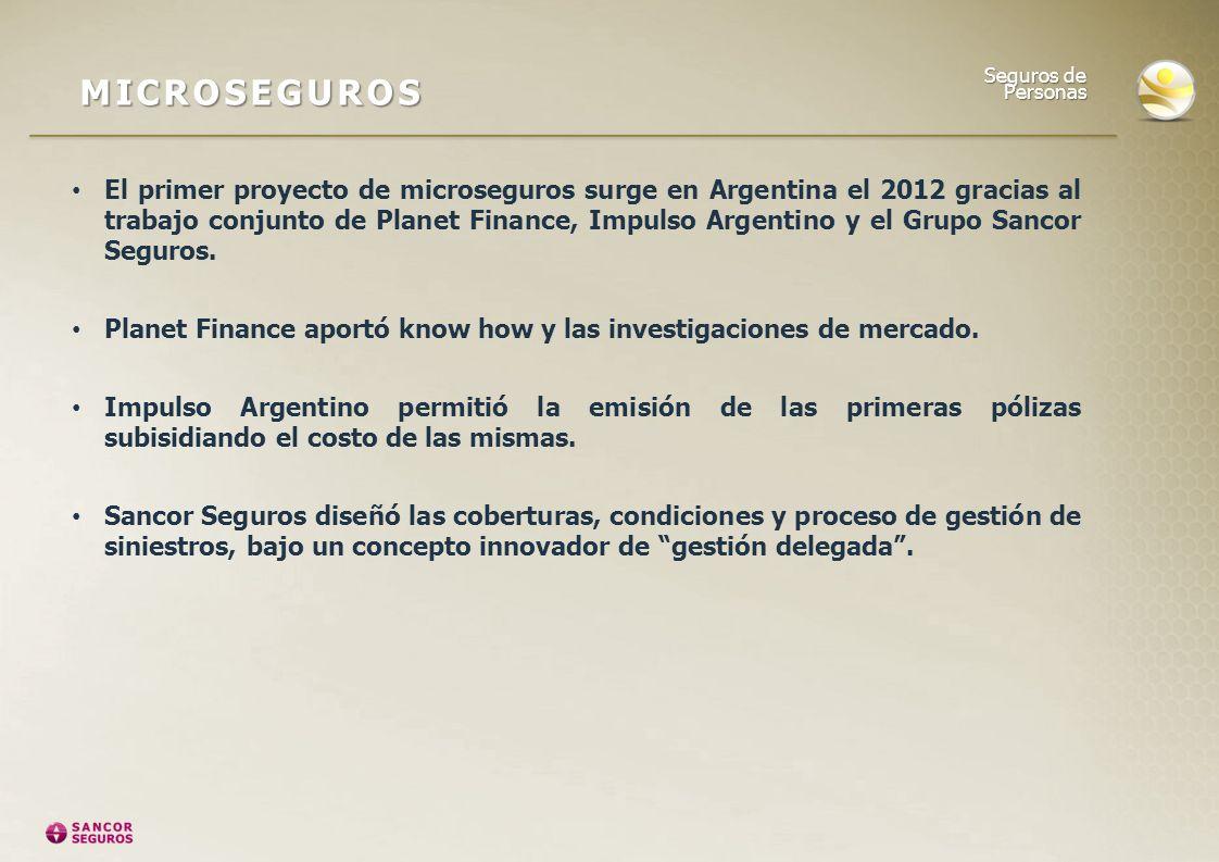 El primer proyecto de microseguros surge en Argentina el 2012 gracias al trabajo conjunto de Planet Finance, Impulso Argentino y el Grupo Sancor Segur