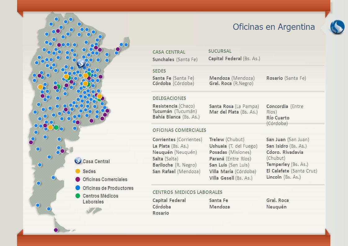 Oficinas en Argentina Casa Central Sedes Oficinas Comerciales Oficinas de Productores Centros Médicos Laborales CASA CENTRAL Sunchales (Santa Fe) SUCU
