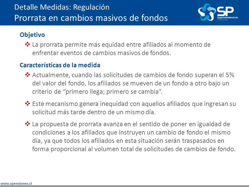 www.spensiones.cl Detalle Medidas: Regulación Prorrata en cambios masivos de fondos Objetivo La prorrata permite más equidad entre afiliados al momento de enfrentar eventos de cambios masivos de fondos.