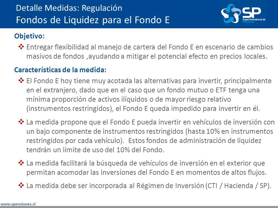 www.spensiones.cl Detalle Medidas: Regulación Fondos de Liquidez para el Fondo E Objetivo: Entregar flexibilidad al manejo de cartera del Fondo E en escenario de cambios masivos de fondos,ayudando a mitigar el potencial efecto en precios locales.