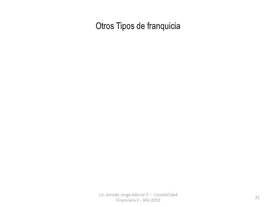 Otros Tipos de franquicia Lic. Amado Jorge Adorno F. - Contabilidad Financiera V - Año 2013 31