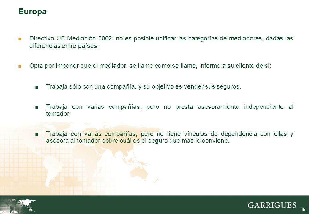 15 Europa Directiva UE Mediación 2002: no es posible unificar las categorías de mediadores, dadas las diferencias entre países.