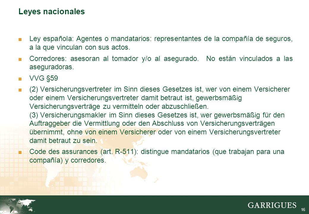 16 Leyes nacionales Ley española: Agentes o mandatarios: representantes de la compañía de seguros, a la que vinculan con sus actos.