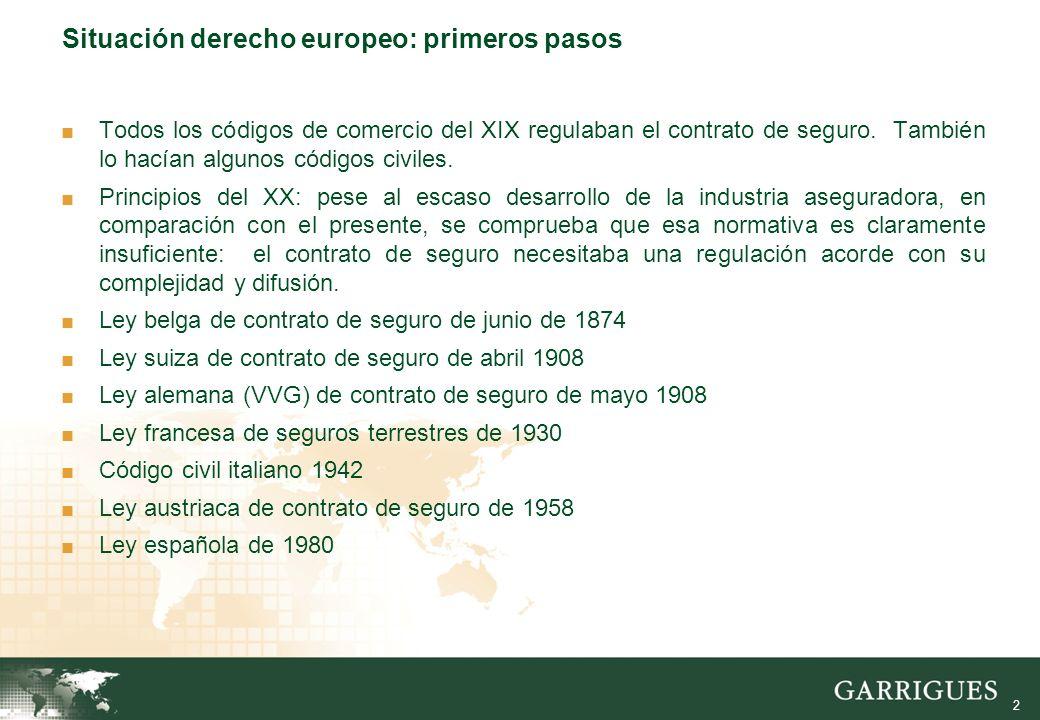 2 Situación derecho europeo: primeros pasos Todos los códigos de comercio del XIX regulaban el contrato de seguro.