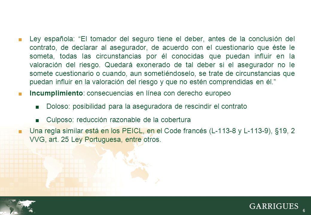 6 Ley española: El tomador del seguro tiene el deber, antes de la conclusión del contrato, de declarar al asegurador, de acuerdo con el cuestionario que éste le someta, todas las circunstancias por él conocidas que puedan influir en la valoración del riesgo.