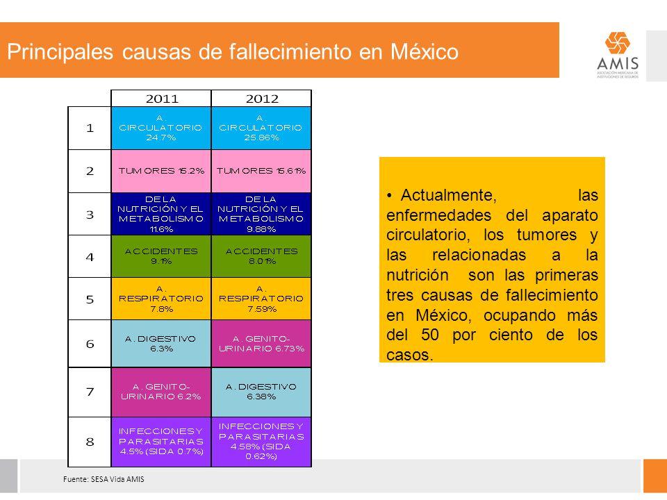 Fuente: SESA Vida AMIS Principales causas de fallecimiento en México Actualmente, las enfermedades del aparato circulatorio, los tumores y las relacionadas a la nutrición son las primeras tres causas de fallecimiento en México, ocupando más del 50 por ciento de los casos.