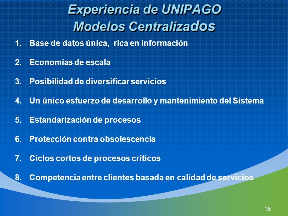Experiencia de UNIPAGO Modelos Centraliza dos 1.Base de datos única, rica en información 2.Economías de escala 3.Posibilidad de diversificar servicios