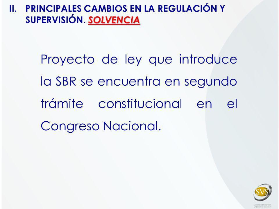 Proyecto de ley que introduce la SBR se encuentra en segundo trámite constitucional en el Congreso Nacional. SOLVENCIA II. PRINCIPALES CAMBIOS EN LA R