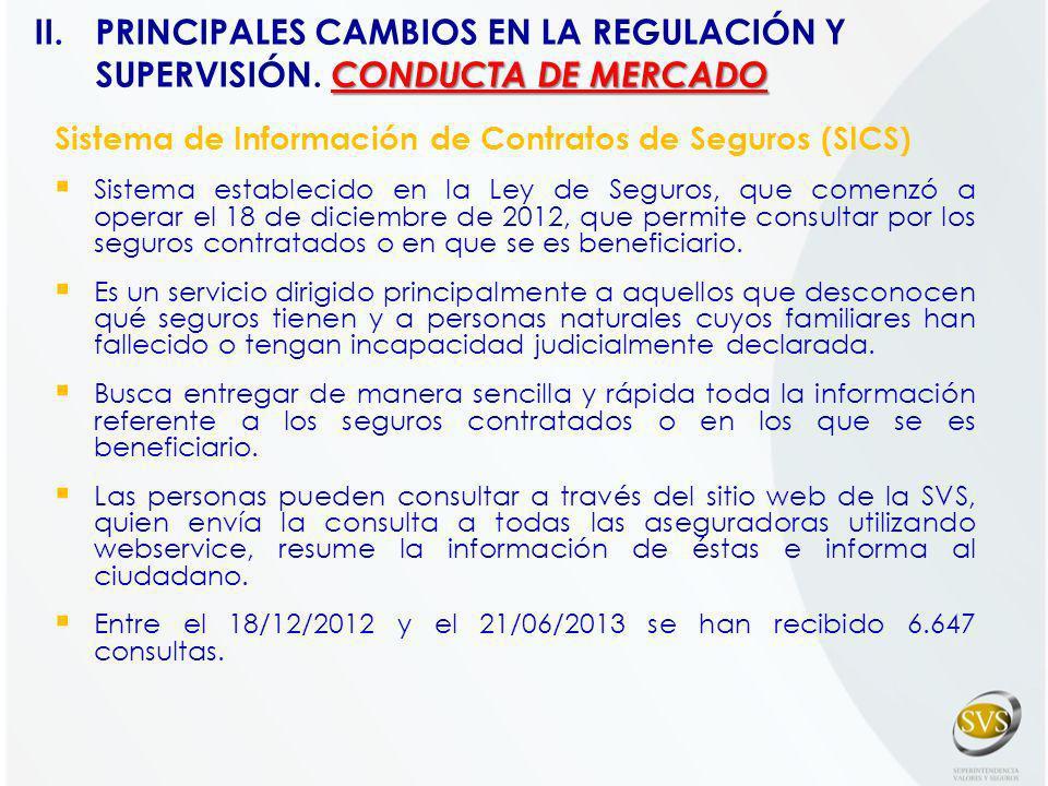 Sistema de Información de Contratos de Seguros (SICS) Sistema establecido en la Ley de Seguros, que comenzó a operar el 18 de diciembre de 2012, que p