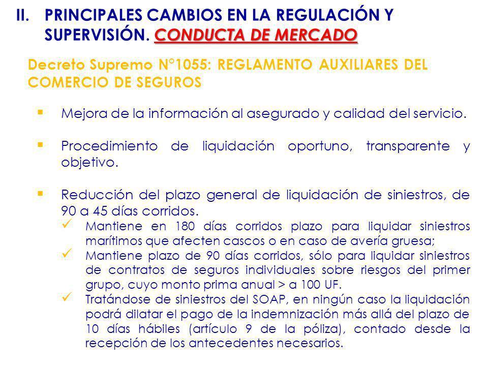 Decreto Supremo N°1055: REGLAMENTO AUXILIARES DEL COMERCIO DE SEGUROS Mejora de la información al asegurado y calidad del servicio. Procedimiento de l