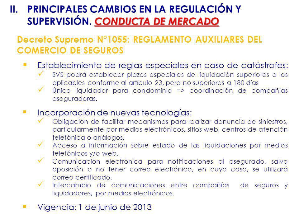 Decreto Supremo N°1055: REGLAMENTO AUXILIARES DEL COMERCIO DE SEGUROS Establecimiento de reglas especiales en caso de catástrofes: SVS podrá establece