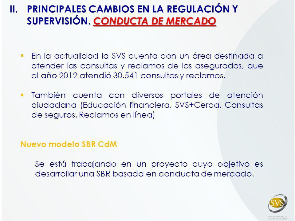En la actualidad la SVS cuenta con un área destinada a atender las consultas y reclamos de los asegurados, que al año 2012 atendió 30.541 consultas y