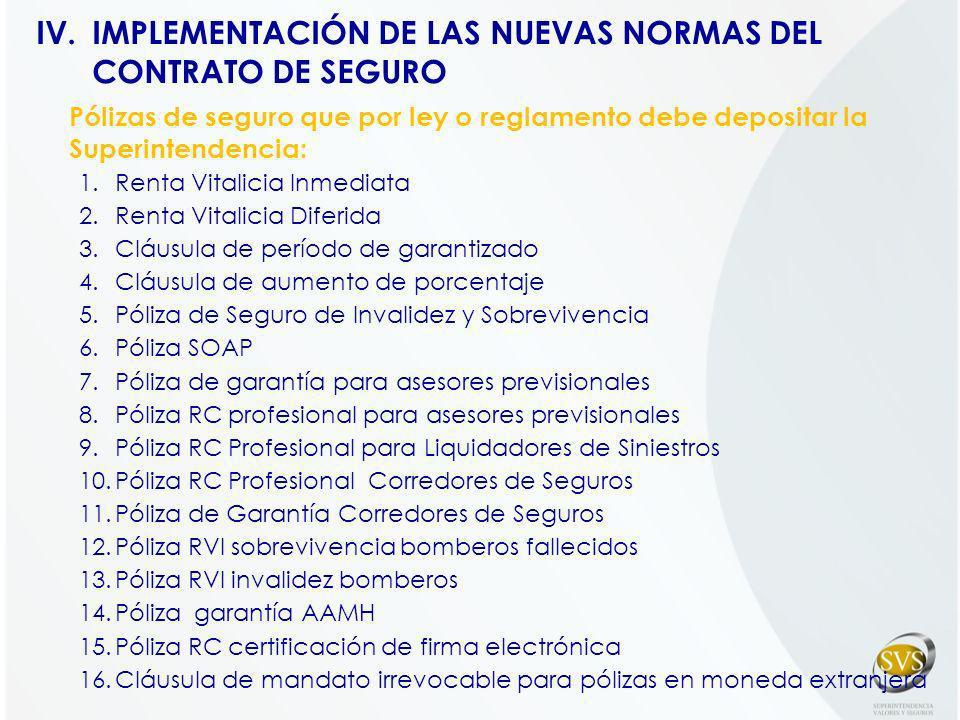 Pólizas de seguro que por ley o reglamento debe depositar la Superintendencia: 1.Renta Vitalicia Inmediata 2.Renta Vitalicia Diferida 3.Cláusula de pe