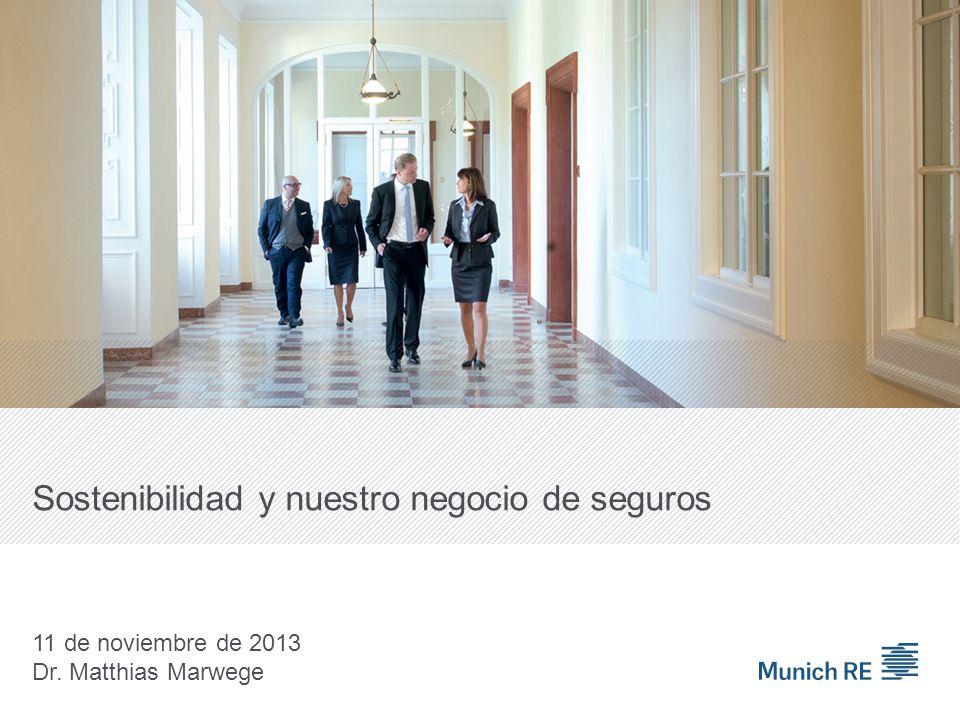 Sostenibilidad y nuestro negocio de seguros 11 de noviembre de 2013 Dr. Matthias Marwege