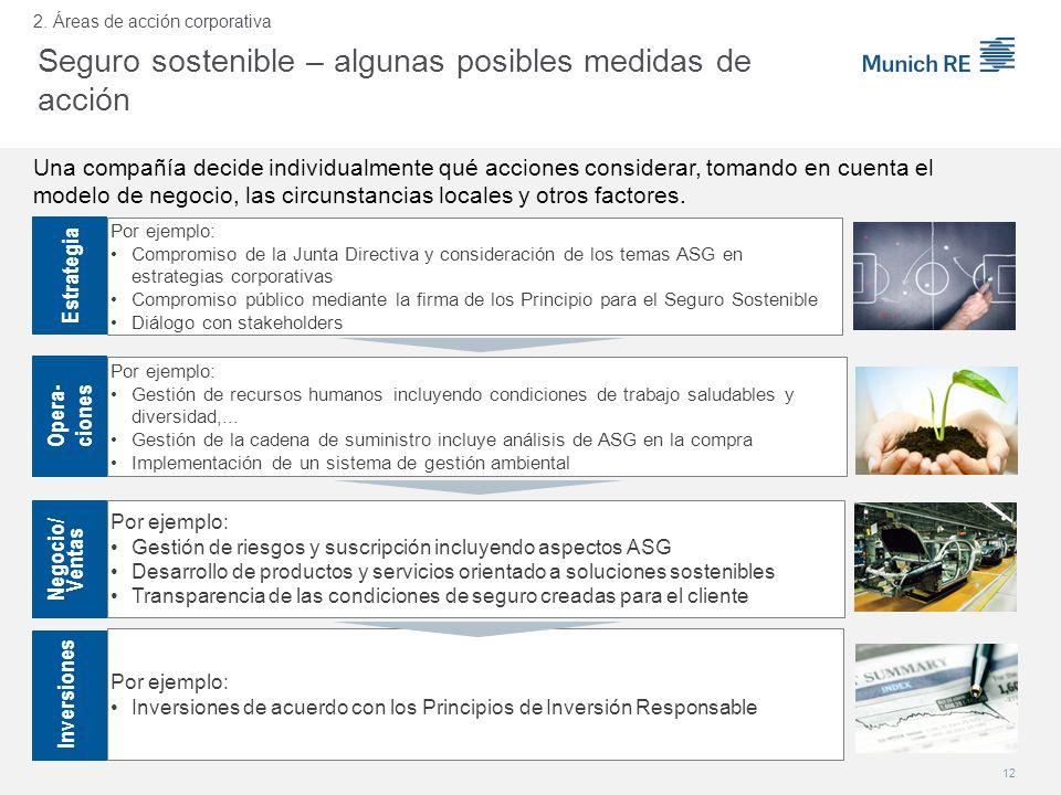 Por ejemplo: Compromiso de la Junta Directiva y consideración de los temas ASG en estrategias corporativas Compromiso público mediante la firma de los