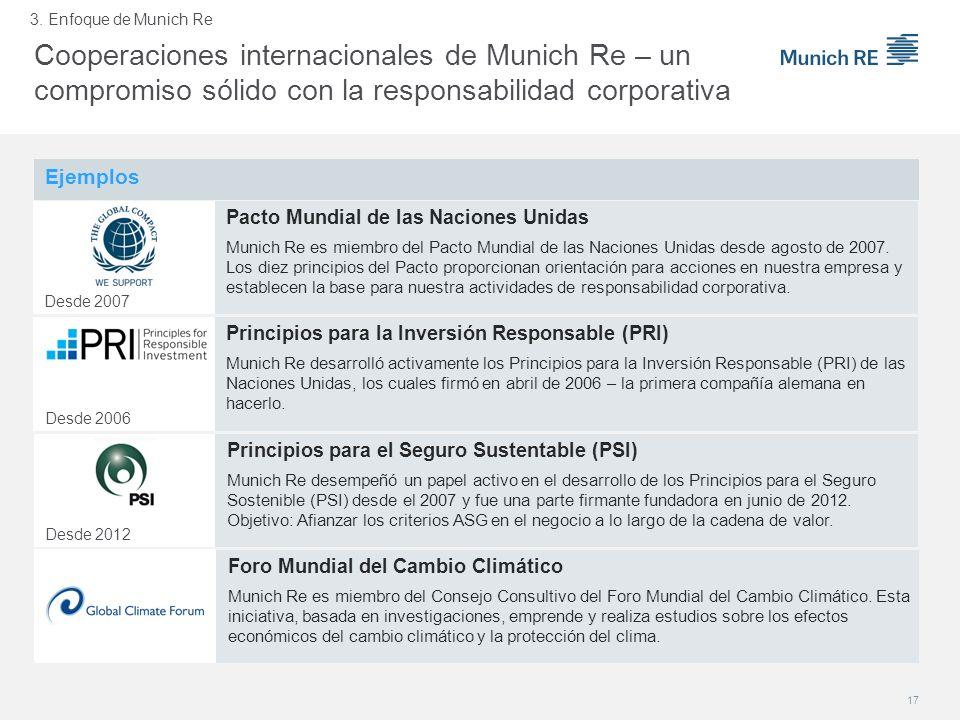 Ejemplos Principios para la Inversión Responsable (PRI) Munich Re desarrolló activamente los Principios para la Inversión Responsable (PRI) de las Nac
