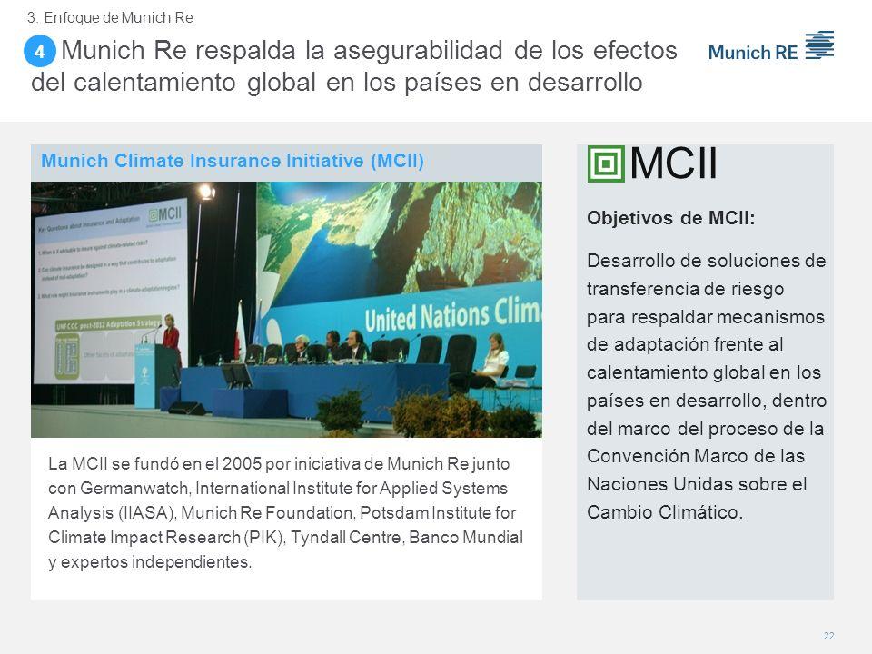 4. Munich Re respalda la asegurabilidad de los efectos del calentamiento global en los países en desarrollo Objetivos de MCII: Desarrollo de solucione