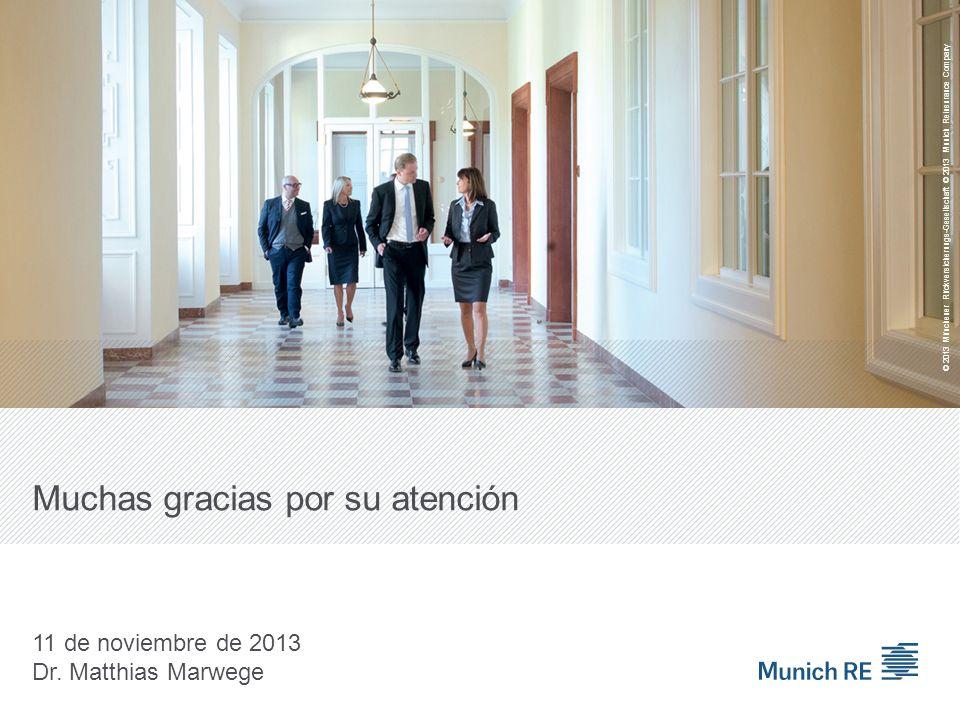Muchas gracias por su atención 11 de noviembre de 2013 Dr. Matthias Marwege © 2013 Münchener Rückversicherungs-Gesellschaft © 2013 Munich Reinsurance