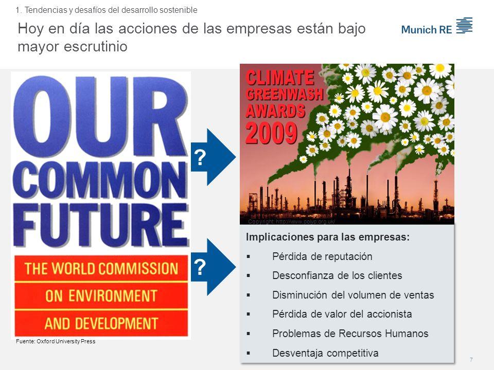 Hoy en día las acciones de las empresas están bajo mayor escrutinio 7 1. Tendencias y desafíos del desarrollo sostenible ? ? Implicaciones para las em