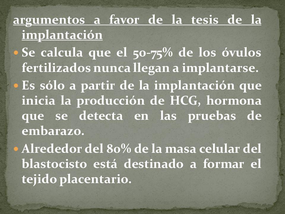 argumentos a favor de la tesis de la implantación Se calcula que el 50-75% de los óvulos fertilizados nunca llegan a implantarse. Es sólo a partir de