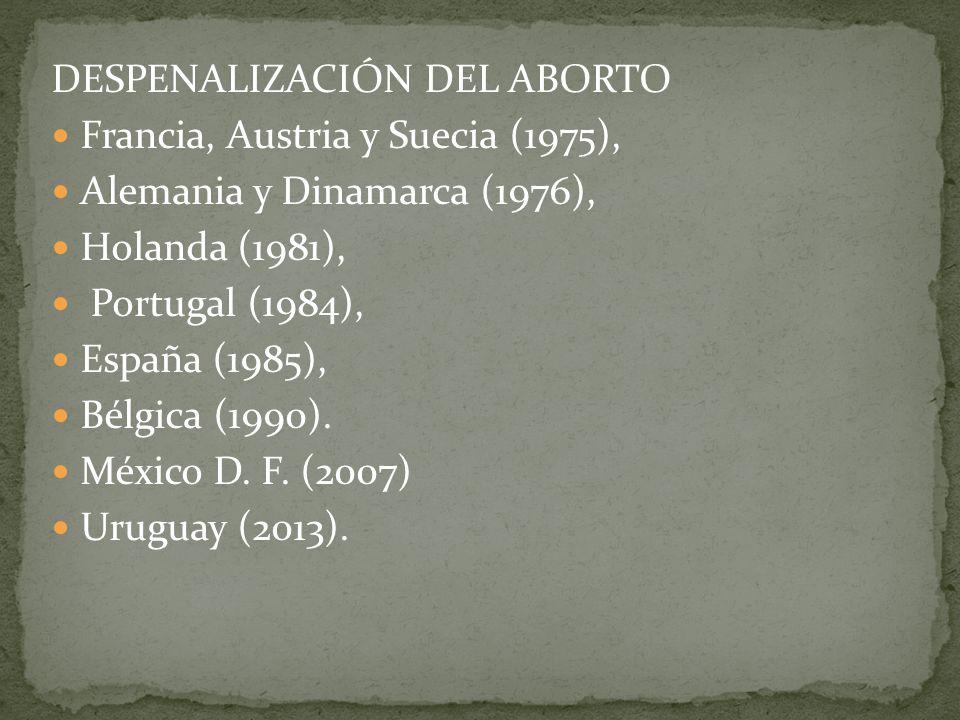 DESPENALIZACIÓN DEL ABORTO Francia, Austria y Suecia (1975), Alemania y Dinamarca (1976), Holanda (1981), Portugal (1984), España (1985), Bélgica (199