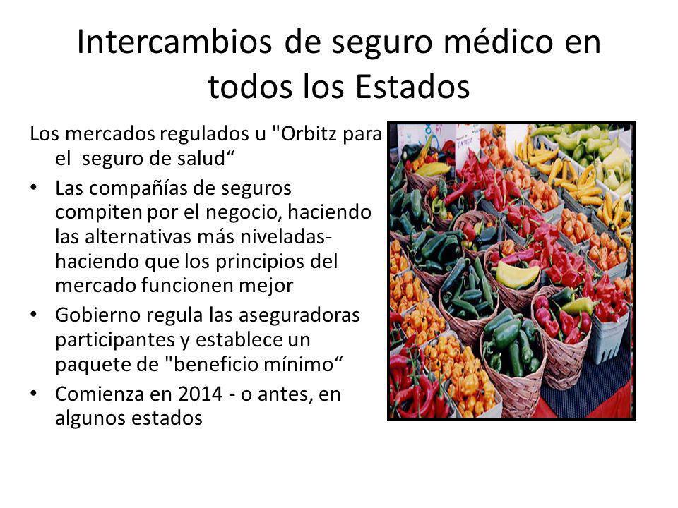 Intercambios de seguro médico en todos los Estados Los mercados regulados u