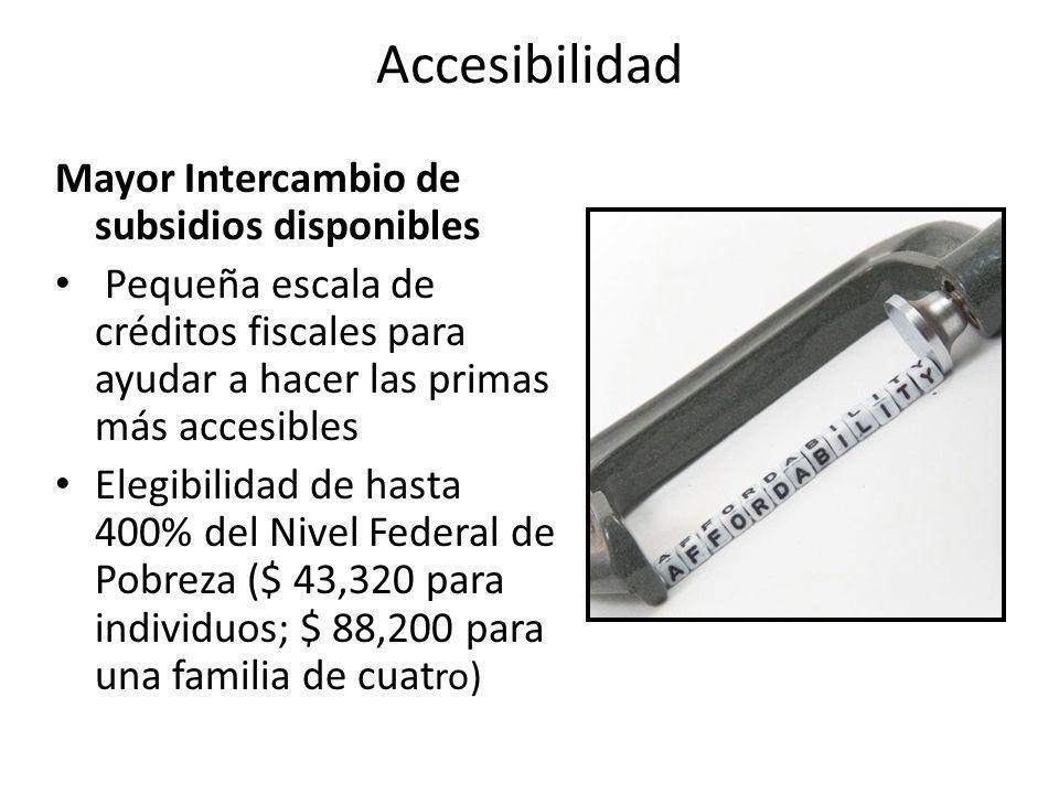 Accesibilidad Mayor Intercambio de subsidios disponibles Pequeña escala de créditos fiscales para ayudar a hacer las primas más accesibles Elegibilida