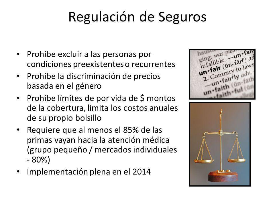 Regulación de Seguros Prohíbe excluir a las personas por condiciones preexistentes o recurrentes Prohíbe la discriminación de precios basada en el gén
