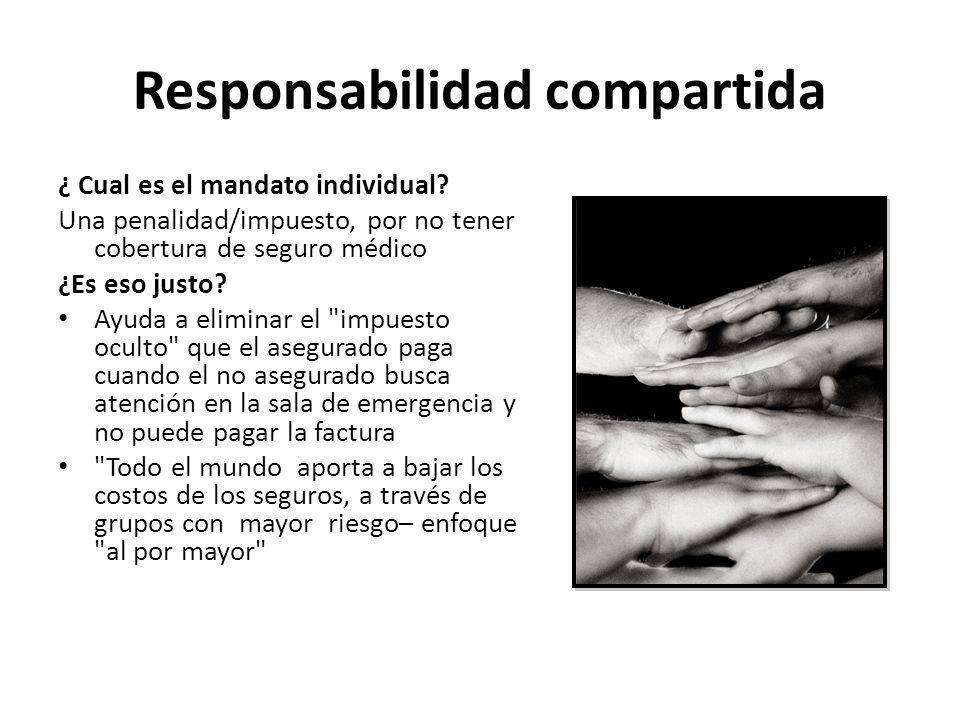 Responsabilidad compartida ¿ Cual es el mandato individual? Una penalidad/impuesto, por no tener cobertura de seguro médico ¿Es eso justo? Ayuda a eli