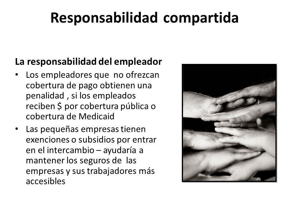 Responsabilidad compartida La responsabilidad del empleador Los empleadores que no ofrezcan cobertura de pago obtienen una penalidad, si los empleados
