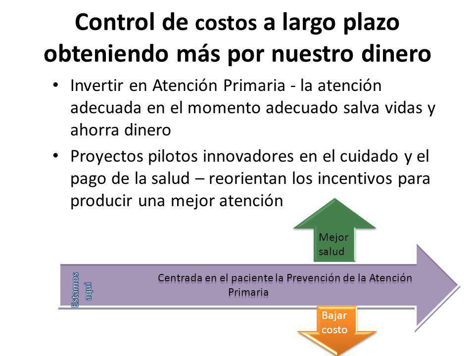 Control de costos a largo plazo obteniendo más por nuestro dinero Invertir en Atención Primaria - la atención adecuada en el momento adecuado salva vi