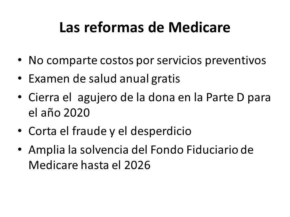 Las reformas de Medicare No comparte costos por servicios preventivos Examen de salud anual gratis Cierra el agujero de la dona en la Parte D para el