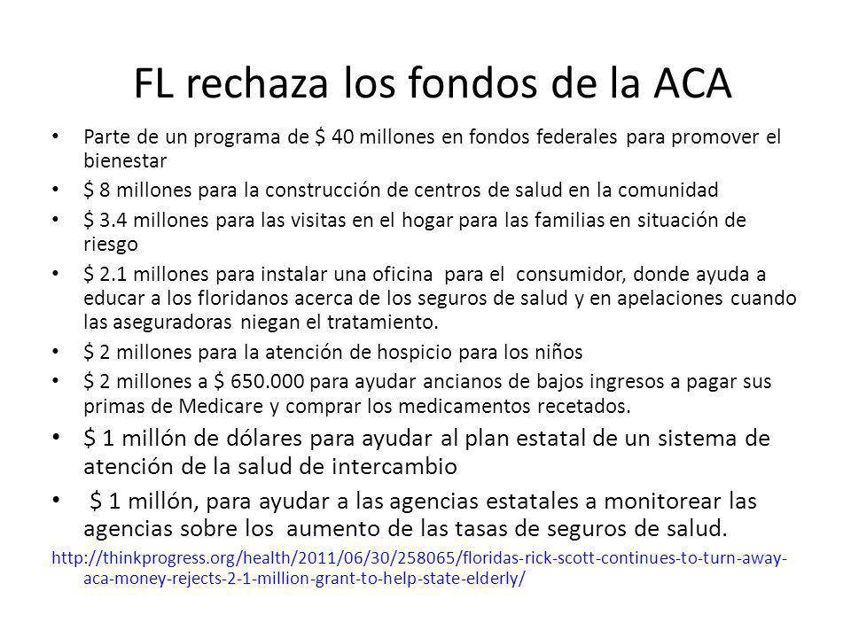 FL rechaza los fondos de la ACA Parte de un programa de $ 40 millones en fondos federales para promover el bienestar $ 8 millones para la construcción