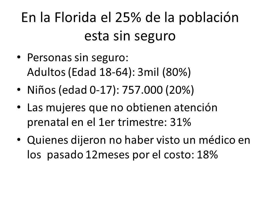 En la Florida el 25% de la población esta sin seguro Personas sin seguro: Adultos (Edad 18-64): 3mil (80%) Niños (edad 0-17): 757.000 (20%) Las mujere