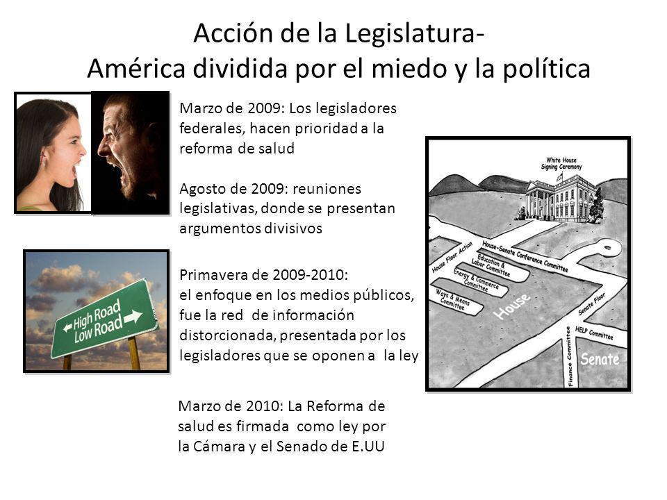 Acción de la Legislatura- América dividida por el miedo y la política Marzo de 2009: Los legisladores federales, hacen prioridad a la reforma de salud