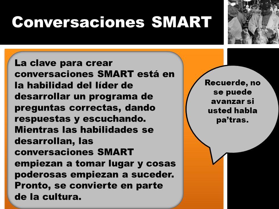Conversaciones SMART La clave para crear conversaciones SMART está en la habilidad del líder de desarrollar un programa de preguntas correctas, dando