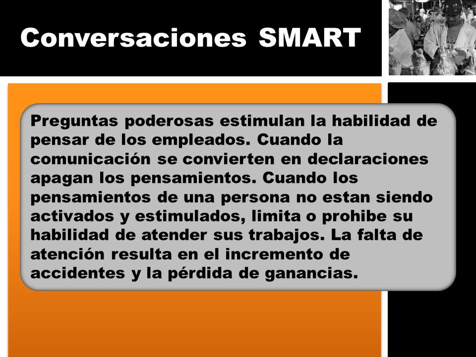 Conversaciones SMART Preguntas poderosas estimulan la habilidad de pensar de los empleados. Cuando la comunicación se convierten en declaraciones apag