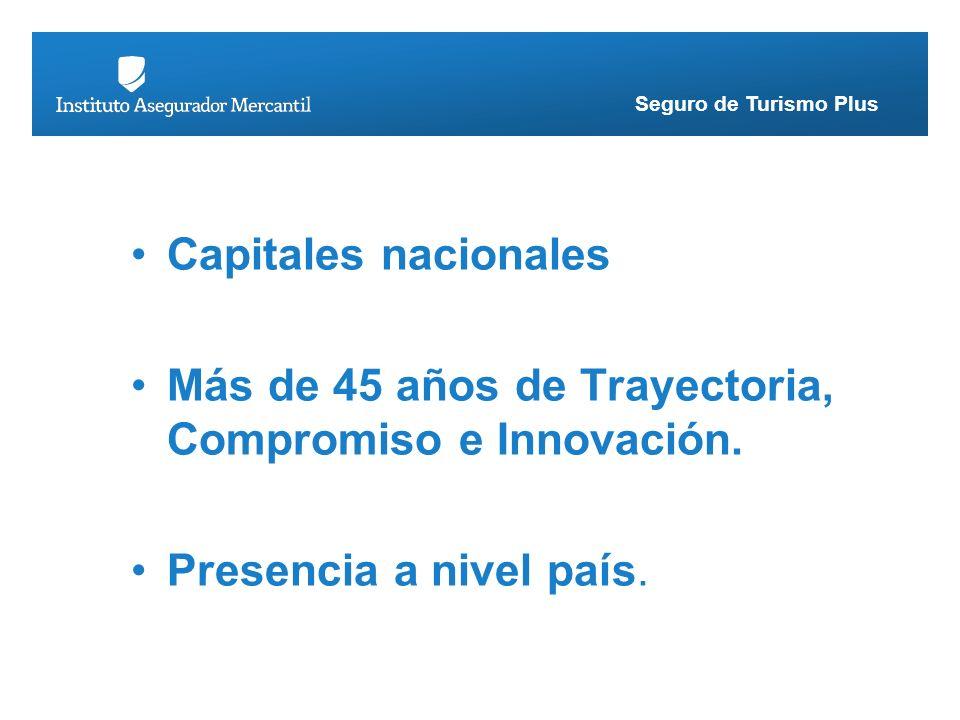 Seguro de Turismo Plus Capitales nacionales Más de 45 años de Trayectoria, Compromiso e Innovación. Presencia a nivel país.