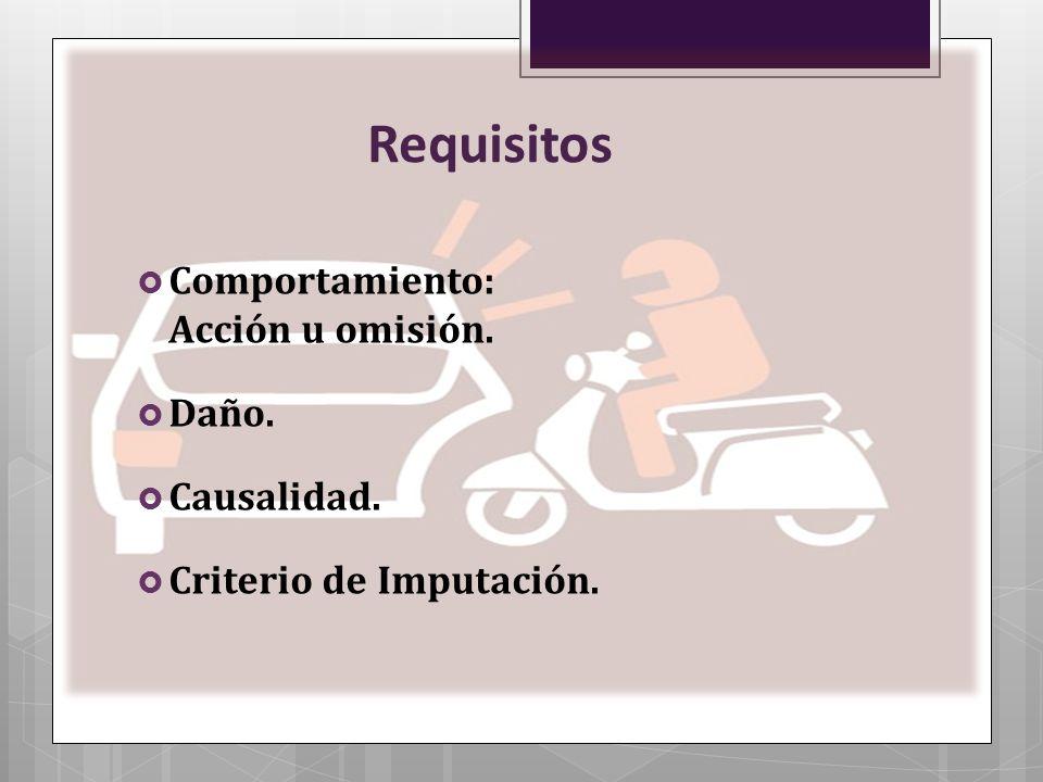 Requisitos Comportamiento: Acción u omisión. Daño. Causalidad. Criterio de Imputación.