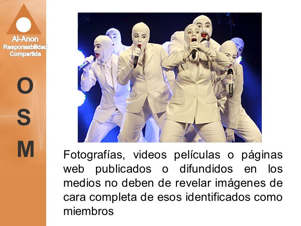 Fotografías, videos películas o páginas web publicados o difundidos en los medios no deben de revelar imágenes de cara completa de esos identificados