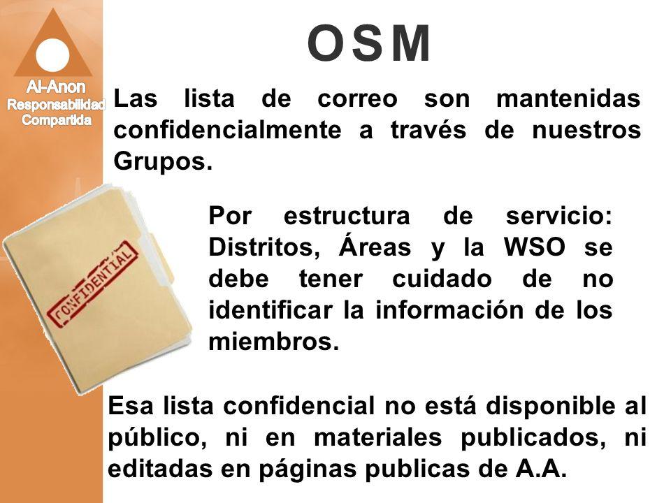OSM Las lista de correo son mantenidas confidencialmente a través de nuestros Grupos. Por estructura de servicio: Distritos, Áreas y la WSO se debe te
