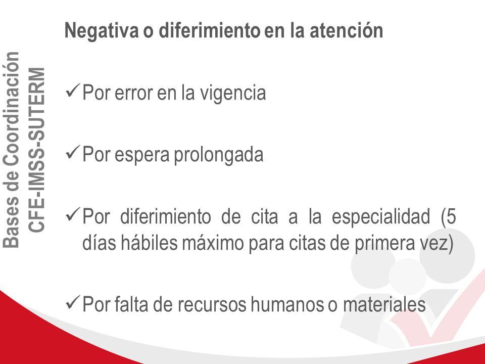 Bases de Coordinación CFE-IMSS-SUTERM Negativa o diferimiento en la atención Por error en la vigencia Por espera prolongada Por diferimiento de cita a