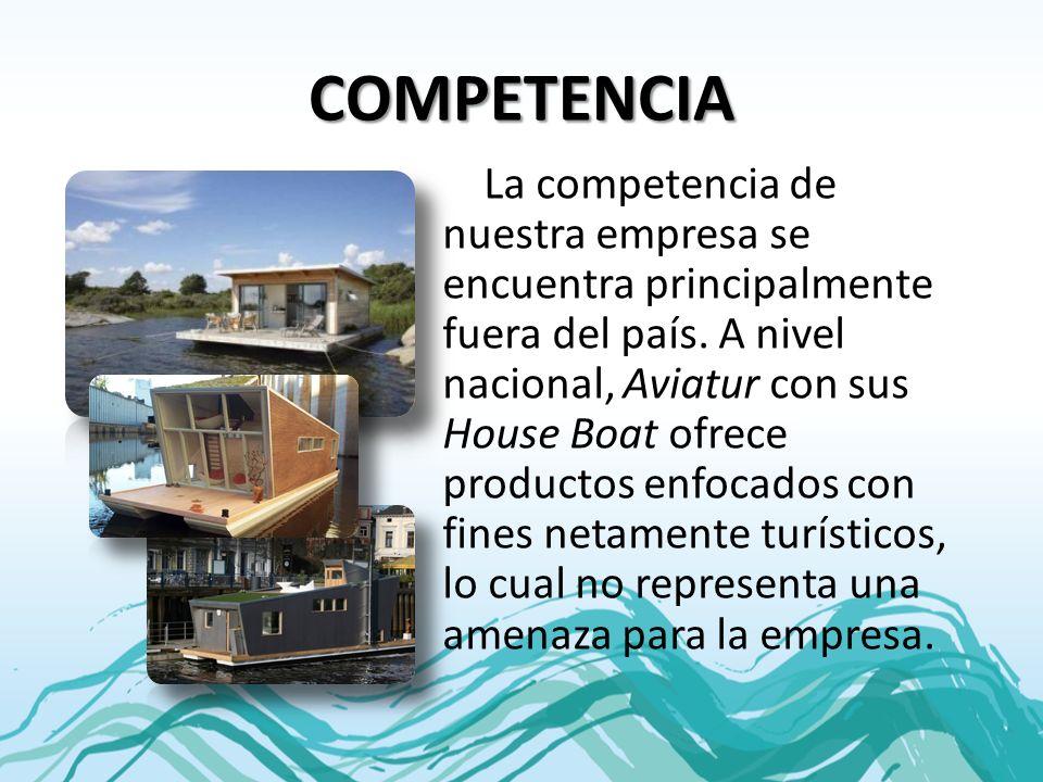 COMPETENCIA La competencia de nuestra empresa se encuentra principalmente fuera del país. A nivel nacional, Aviatur con sus House Boat ofrece producto