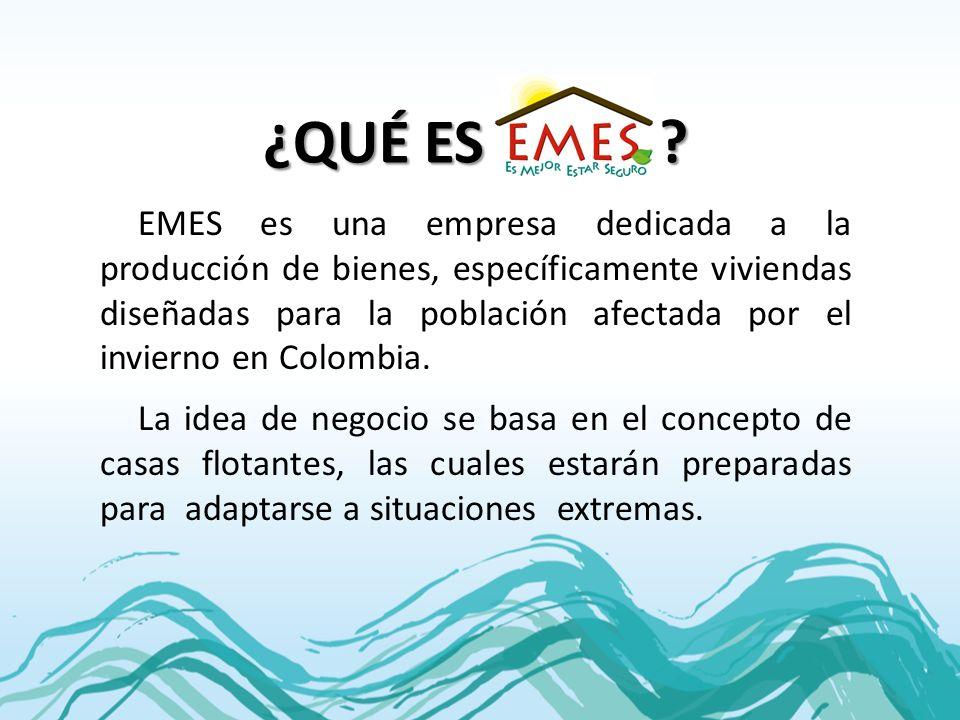 ¿QUÉ ES ? EMES es una empresa dedicada a la producción de bienes, específicamente viviendas diseñadas para la población afectada por el invierno en Co