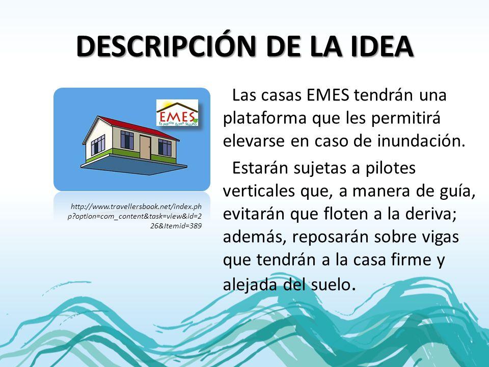 DESCRIPCIÓN DE LA IDEA Las casas EMES tendrán una plataforma que les permitirá elevarse en caso de inundación. Estarán sujetas a pilotes verticales qu
