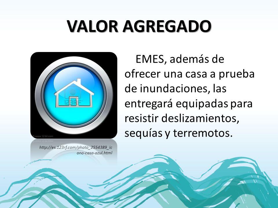 VALOR AGREGADO EMES, además de ofrecer una casa a prueba de inundaciones, las entregará equipadas para resistir deslizamientos, sequías y terremotos.