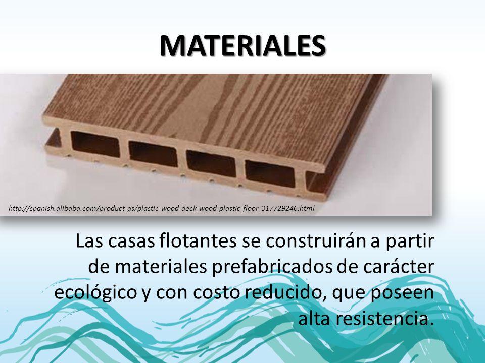 MATERIALES Las casas flotantes se construirán a partir de materiales prefabricados de carácter ecológico y con costo reducido, que poseen alta resiste