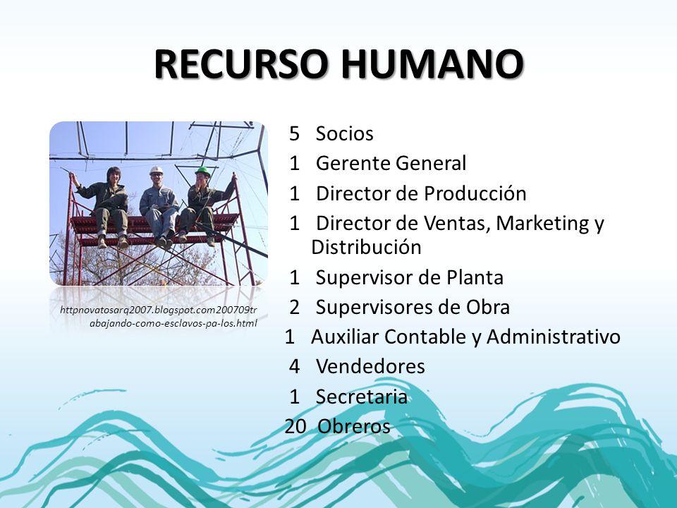 RECURSO HUMANO 5 Socios 1 Gerente General 1 Director de Producción 1 Director de Ventas, Marketing y Distribución 1 Supervisor de Planta 2 Supervisore